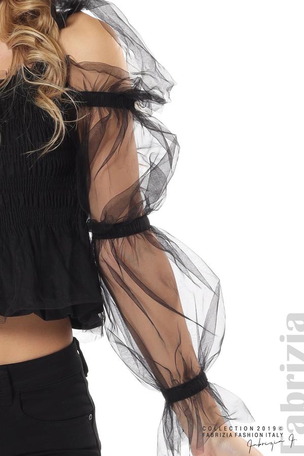 Дамско бюстие с ръкави от тюл черен 4 fabrizia