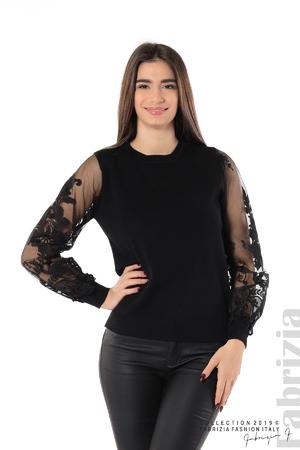 Блуза с мрежести ръкави с цветя