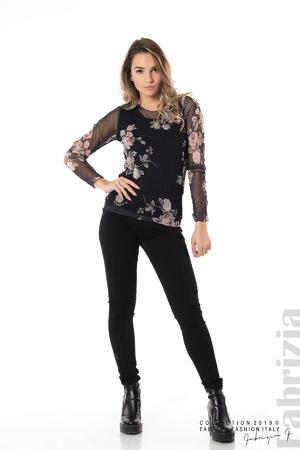 Блуза от тюл с принт рози