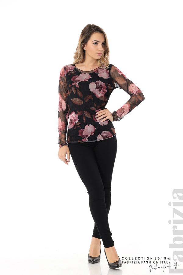 Тюлена блуза с принт на цветя черен 3 fabrizia
