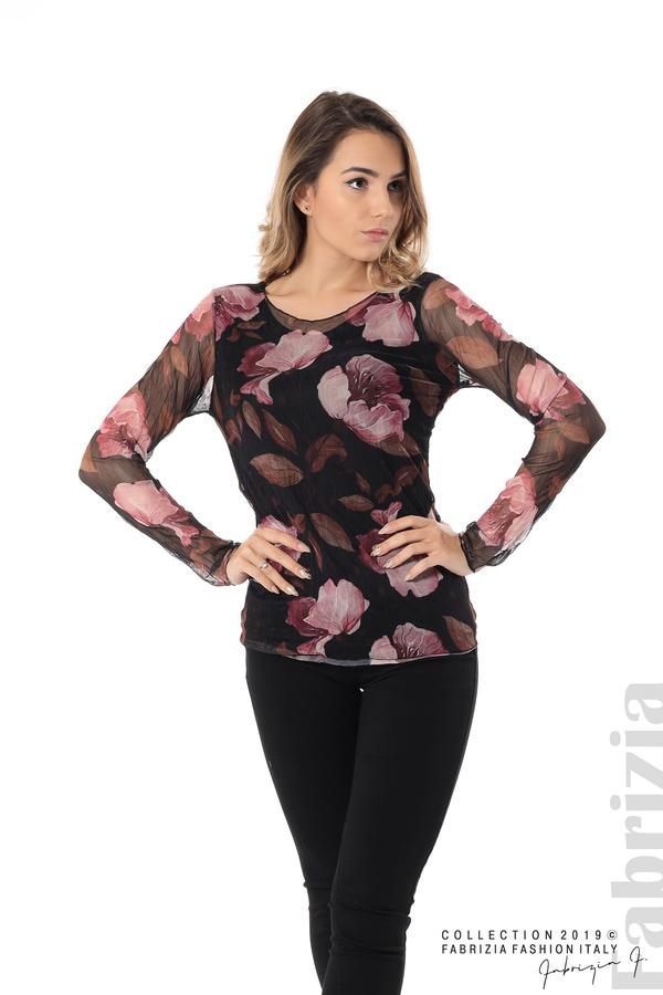 Тюлена блуза с принт на цветя черен 2 fabrizia