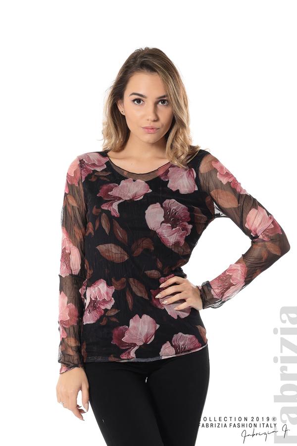 Тюлена блуза с принт на цветя черен 1 fabrizia