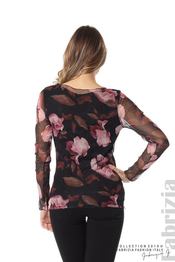 Тюлена блуза с принт на цветя черен 4 fabrizia