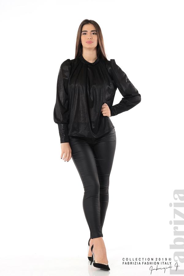 Ефектна блуза с набори черен 3 fabrizia
