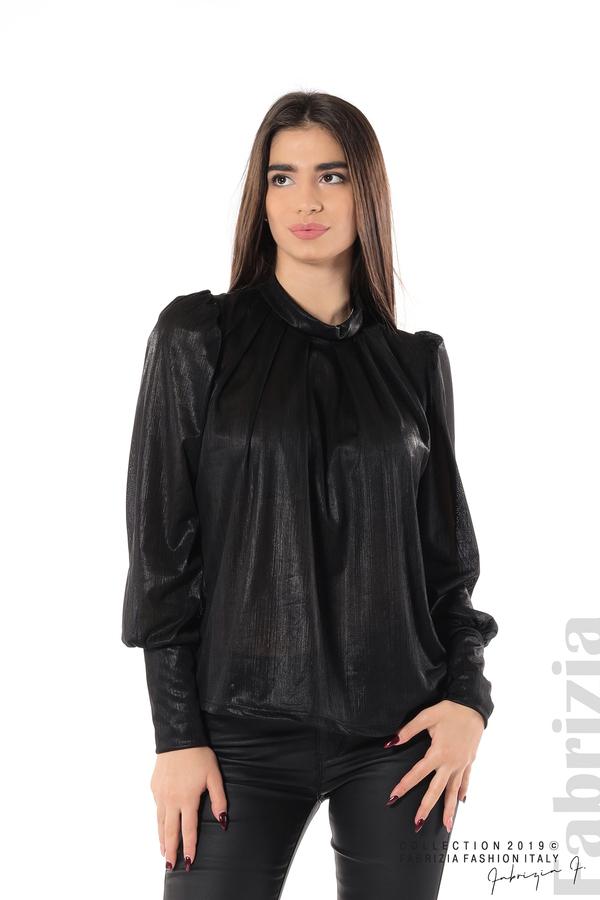 Ефектна блуза с набори черен 1 fabrizia