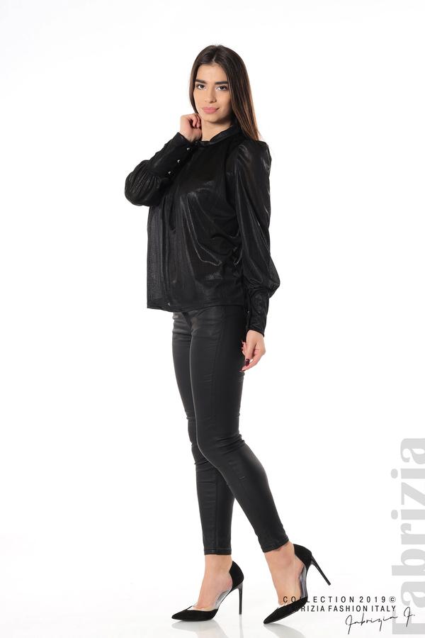 Ефектна блуза с набори черен 2 fabrizia
