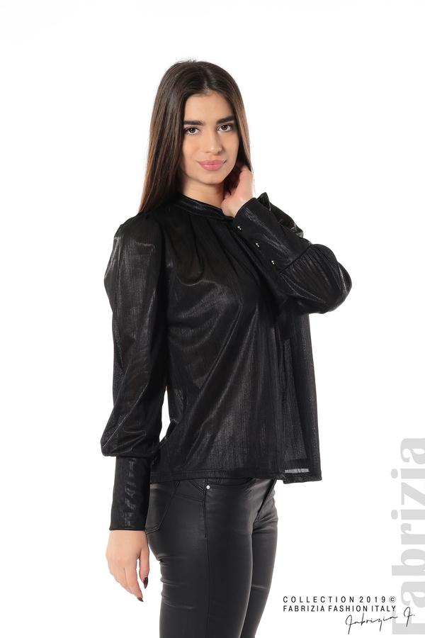 Ефектна блуза с набори черен 4 fabrizia