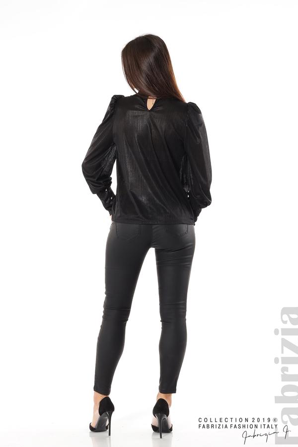 Ефектна блуза с набори черен 5 fabrizia