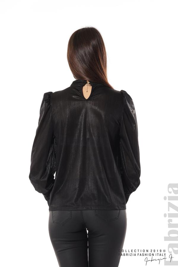 Ефектна блуза с набори черен 6 fabrizia