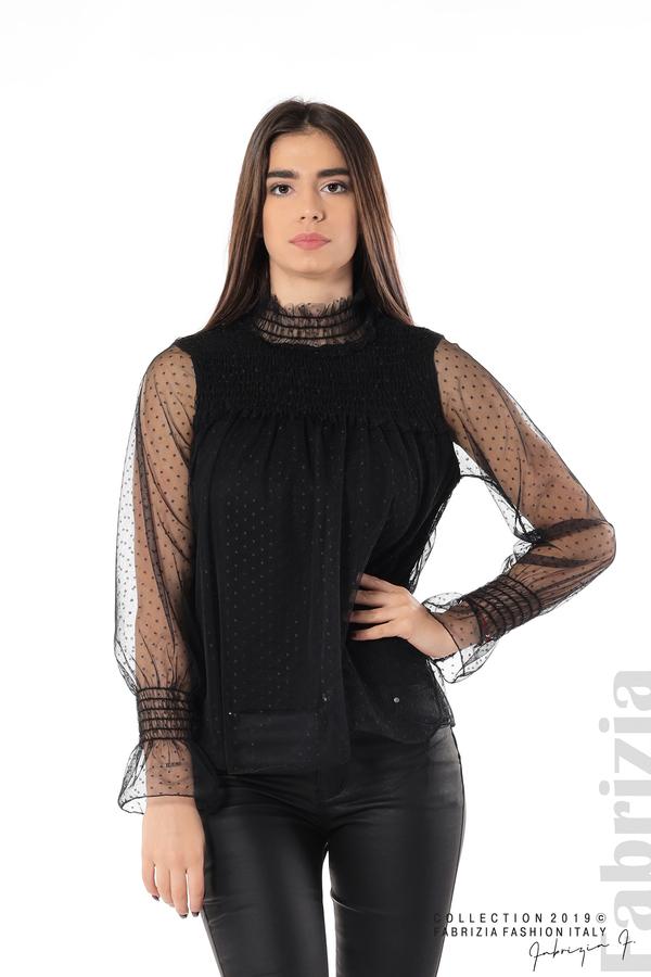 Мрежеста блуза на точки черен 1 fabrizia