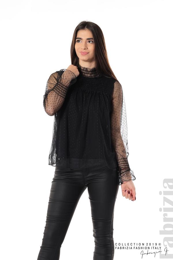 Мрежеста блуза на точки черен 3 fabrizia