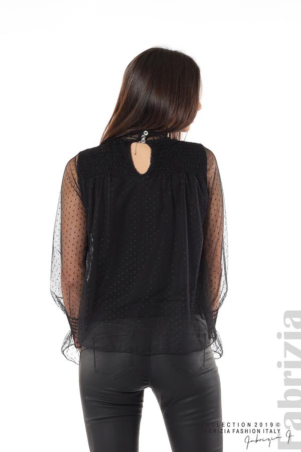 Мрежеста блуза на точки черен 6 fabrizia