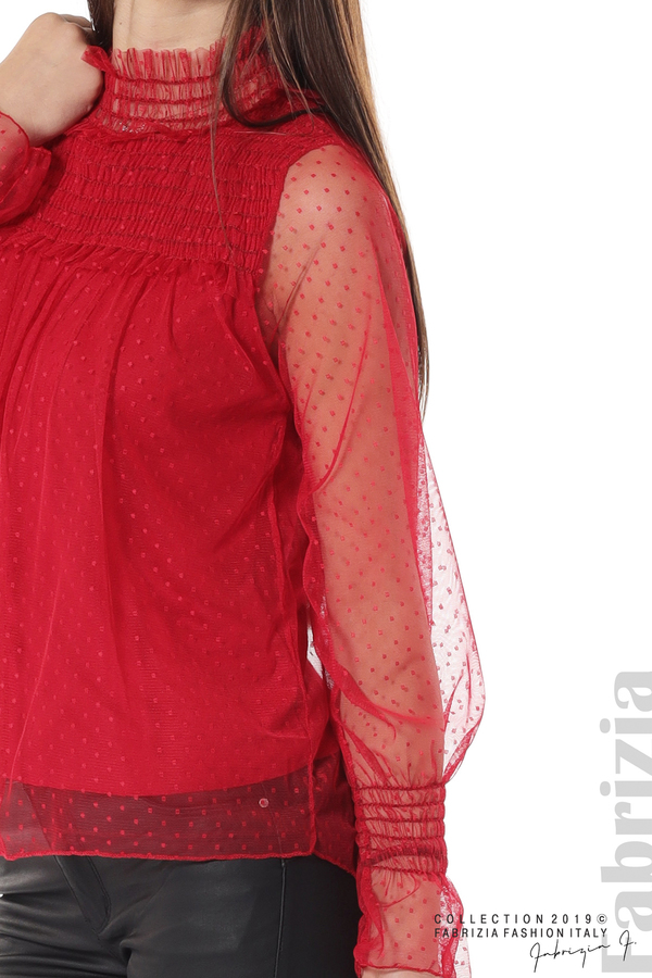 Мрежеста блуза на точки червен 3 fabrizia