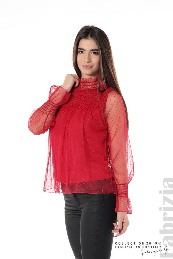 Мрежеста блуза на точки червен 1 fabrizia