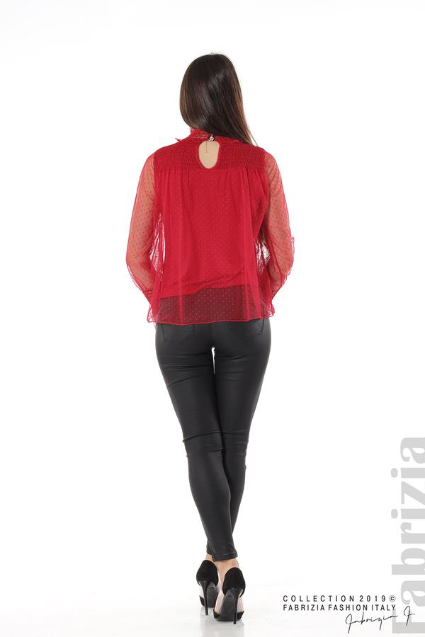 Мрежеста блуза на точки червен 5 fabrizia