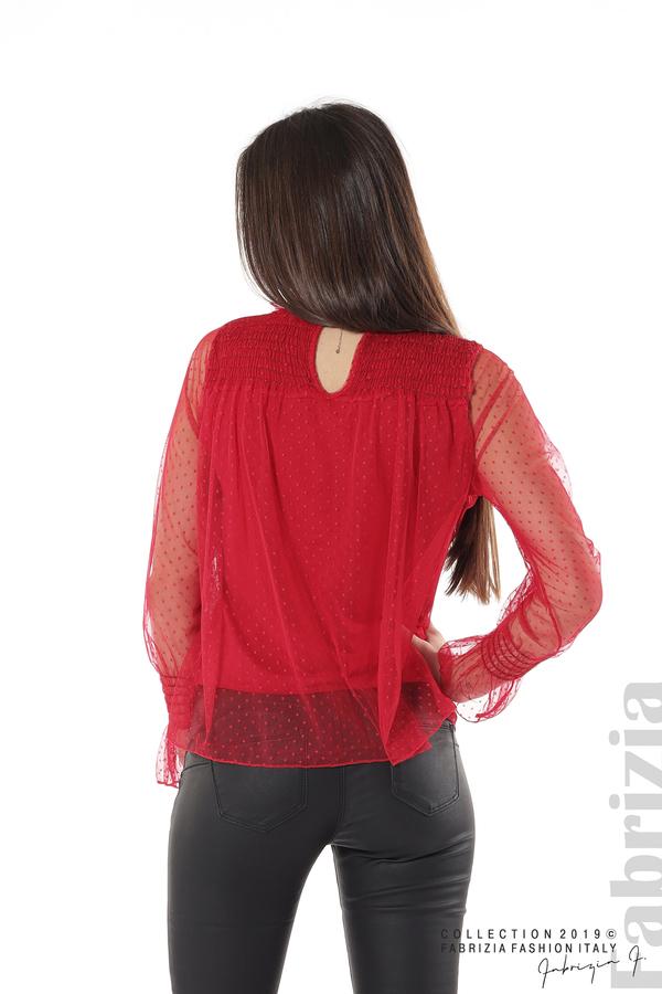 Мрежеста блуза на точки червен 6 fabrizia