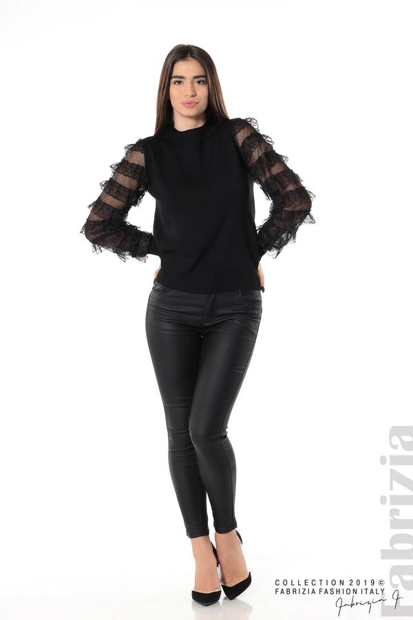 Блуза с волани на ръкавите черен 2 fabrizia