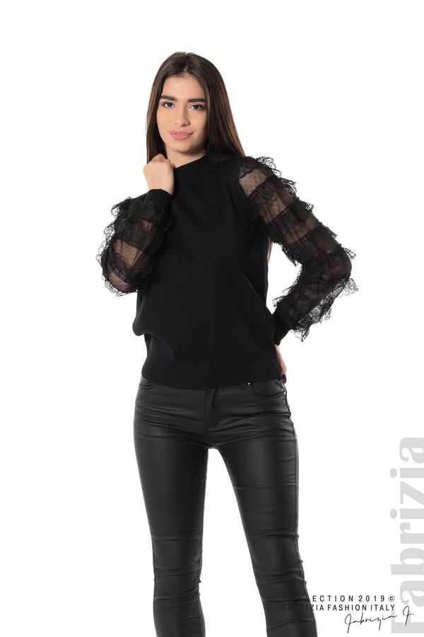 Блуза с волани на ръкавите черен 4 fabrizia