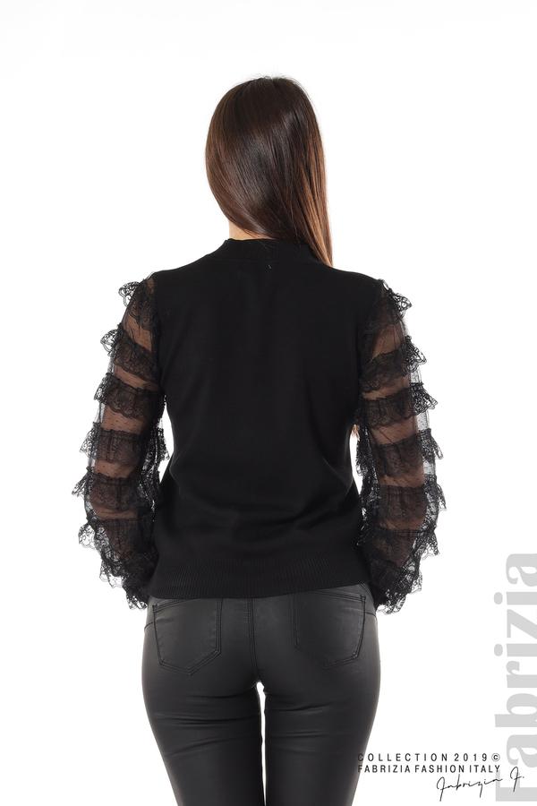 Блуза с волани на ръкавите черен 6 fabrizia