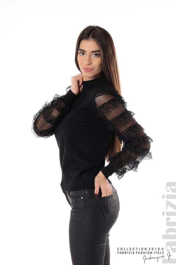 Блуза с волани на ръкавите черен 1 fabrizia