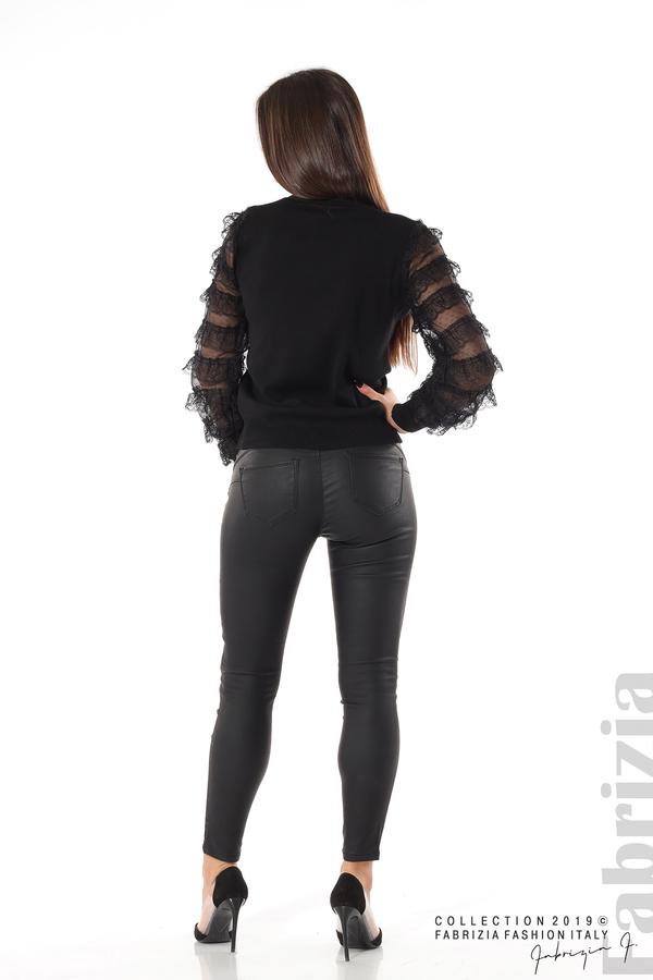 Блуза с волани на ръкавите черен 5 fabrizia