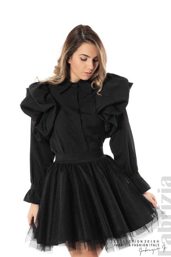 Къса риза с обемни ръкави черен 1 fabrizia