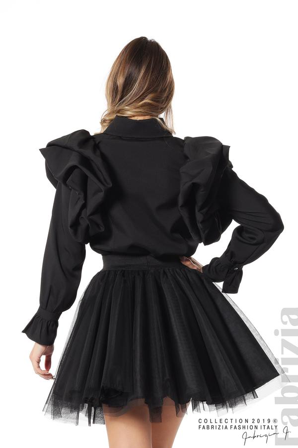 Къса риза с обемни ръкави черен 4 fabrizia