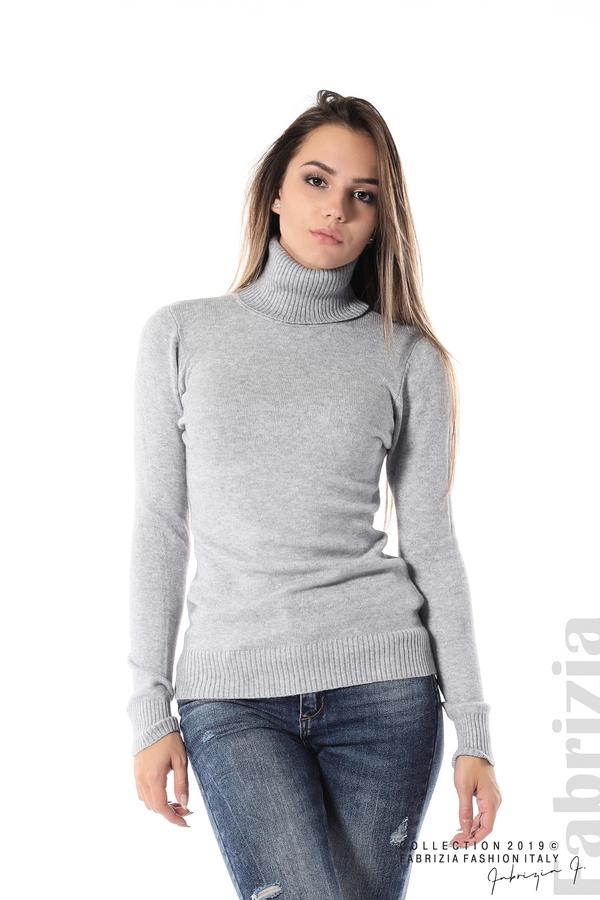 Блуза с висока поло яка сив 1 fabrizia