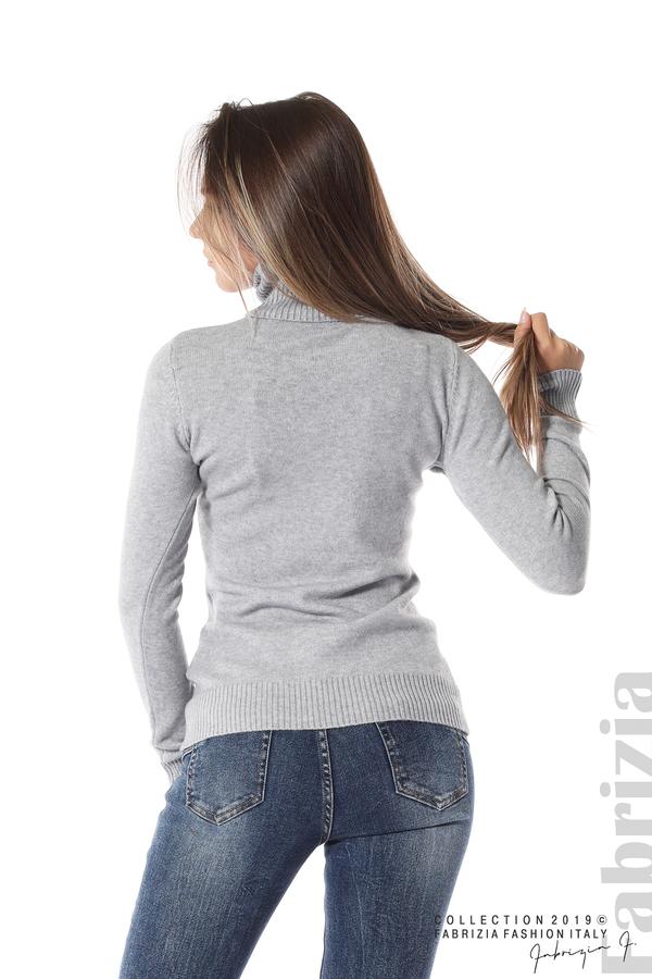 Блуза с висока поло яка сив 4 fabrizia