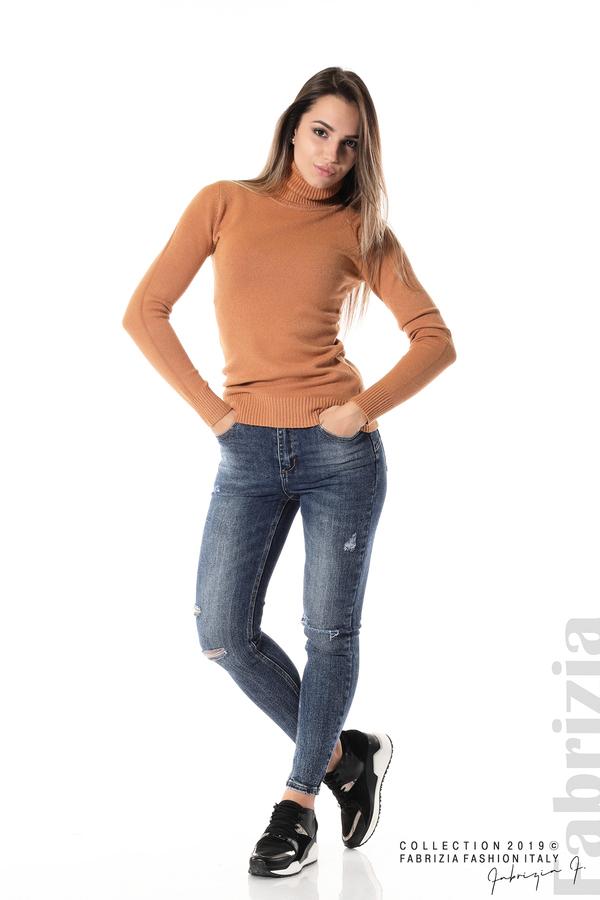 Блуза с висока поло яка св.кафяв 2 fabrizia