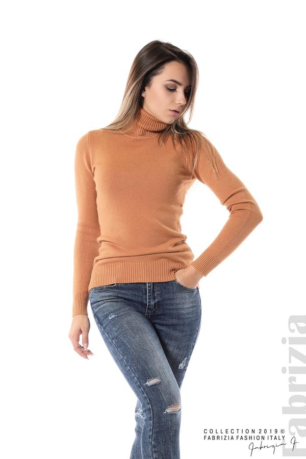 Блуза с висока поло яка св.кафяв 3 fabrizia