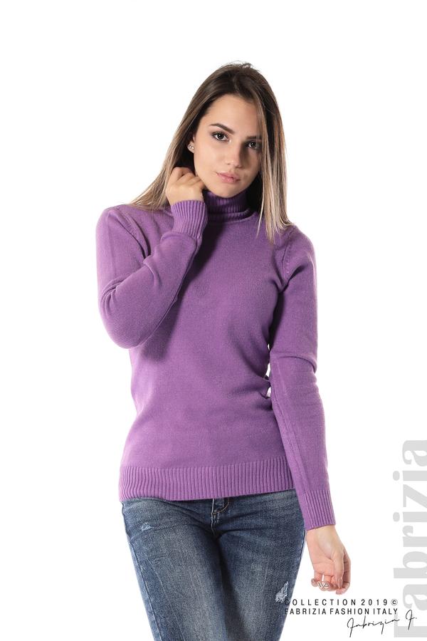 Блуза с висока поло яка лилав 1 fabrizia