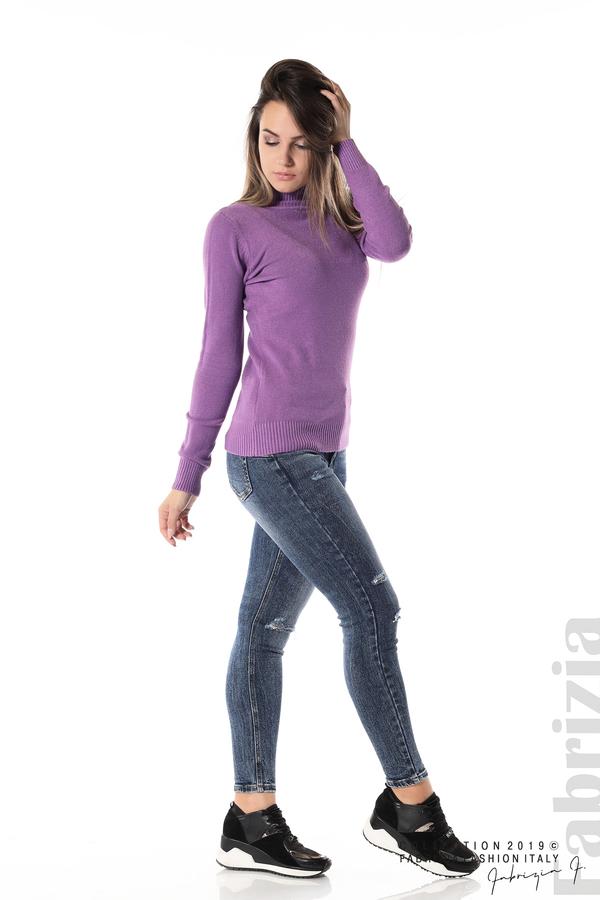 Блуза с висока поло яка лилав 3 fabrizia