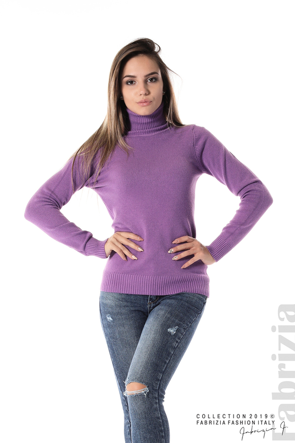 Блуза с висока поло яка лилав 2 fabrizia