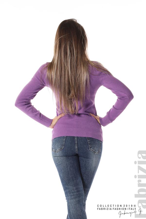 Блуза с висока поло яка лилав 4 fabrizia