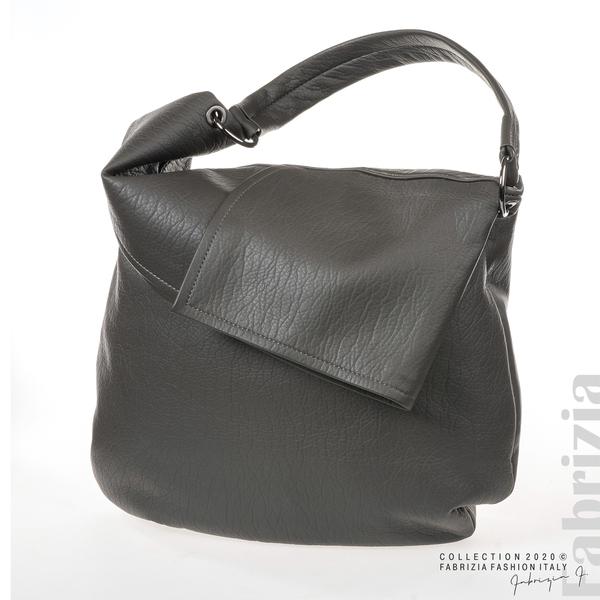 Дамска чанта с прехвърлена горна част сив 1 fabrizia