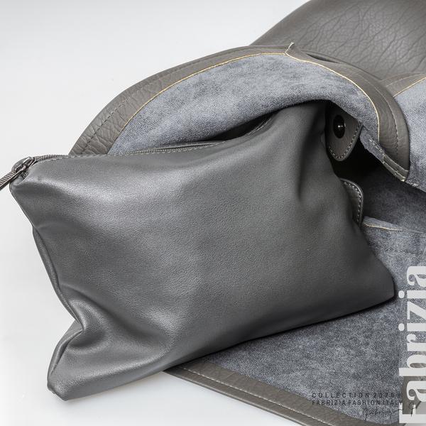 Дамска чанта с прехвърлена горна част сив 5 fabrizia
