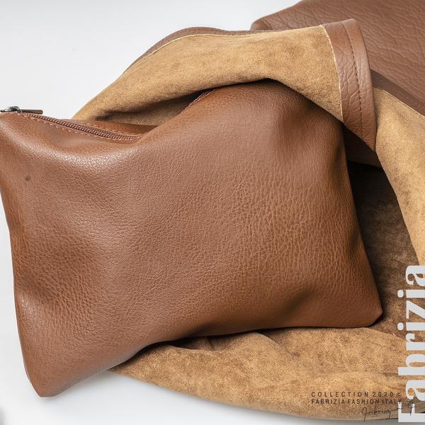 Дамска чанта с прехвърлена горна част кафяв 5 fabrizia