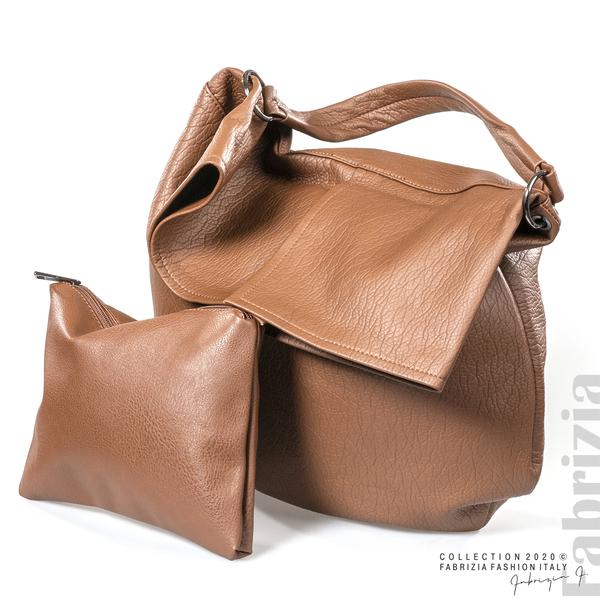 Дамска чанта с прехвърлена горна част кафяв 4 fabrizia