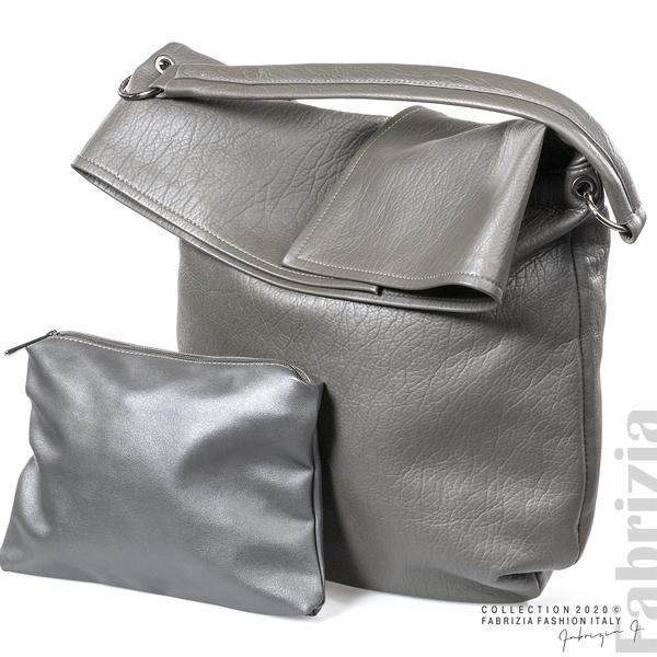Дамска чанта с прехвърлена горна част сив 4 fabrizia