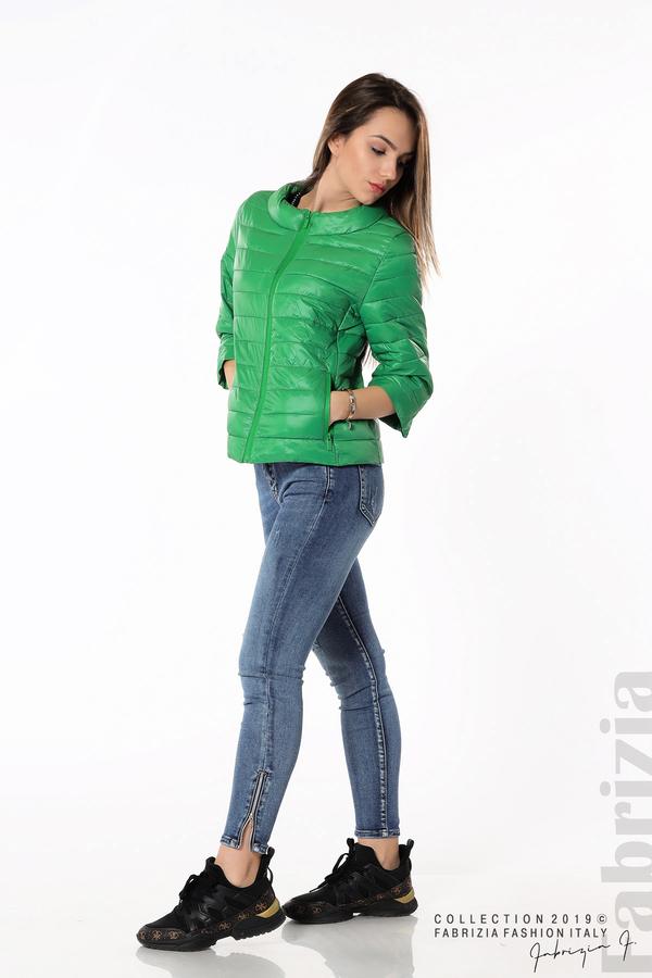 Дамско яке с три четвърти ръкави зелен 3 fabrizia