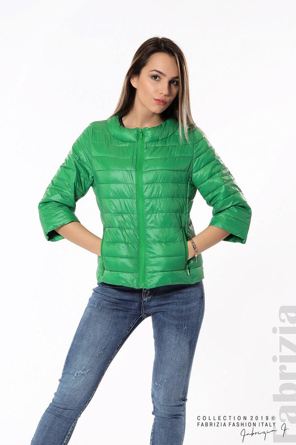 Дамско яке с три четвърти ръкави зелен 2 fabrizia