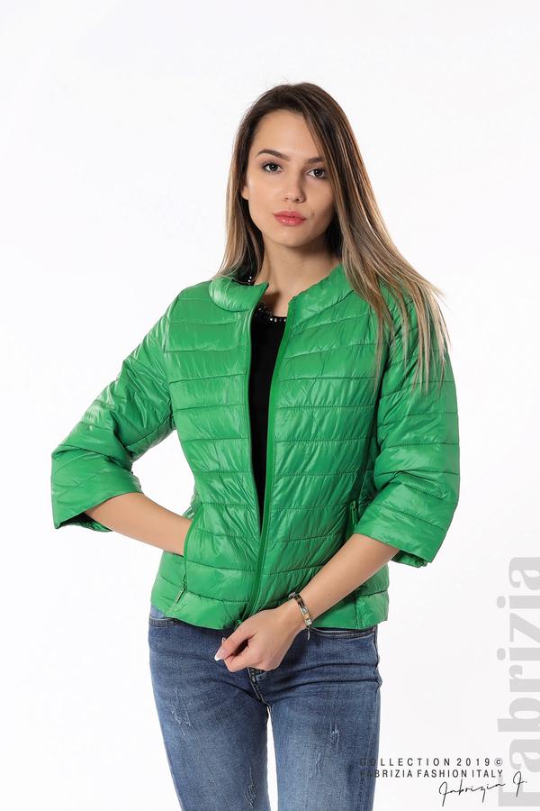 Дамско яке с три четвърти ръкави зелен 1 fabrizia