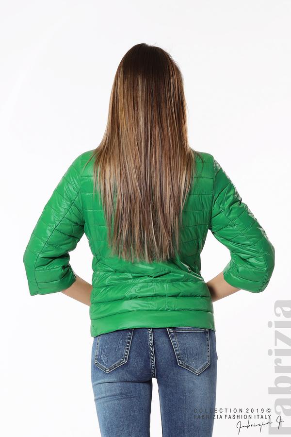 Дамско яке с три четвърти ръкави зелен 4 fabrizia