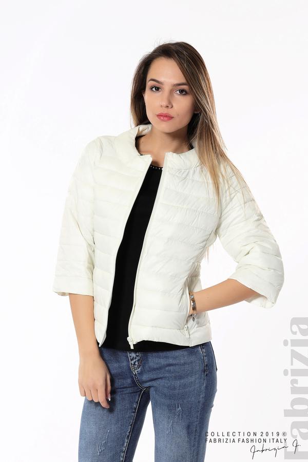 Дамско яке с три четвърти ръкави бял 1 fabrizia