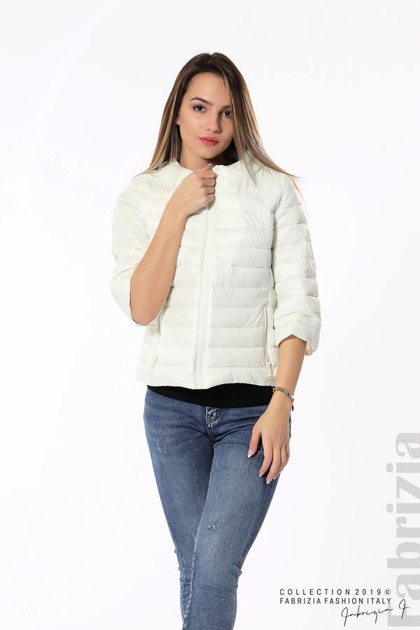Дамско яке с три четвърти ръкави бял 2 fabrizia
