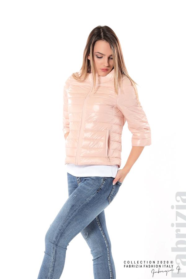 Дамско яке с три четвърти ръкави розов 4 fabrizia