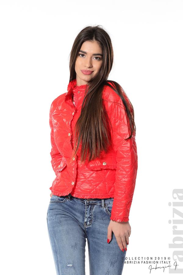 Вталено дамско яке  червен 2 fabrizia