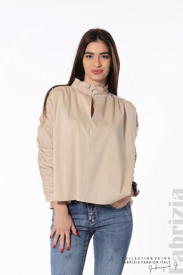 Широка риза с набори на ръкавите бежов 1 fabrizia