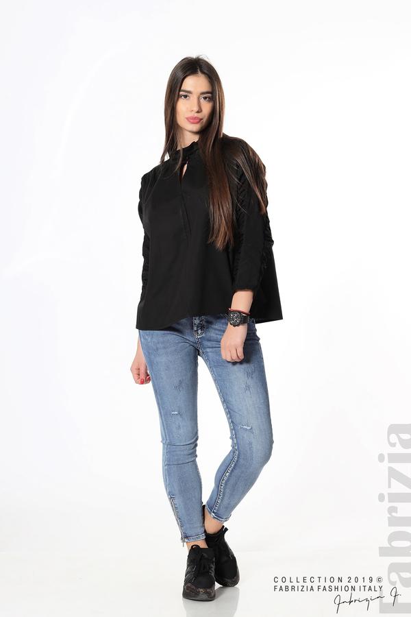 Широка риза с набори на ръкавите черен 3 fabrizia